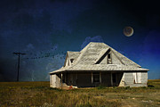 Photomanipulation Photo Prints - Under the Prairie Moon Print by Karen Slagle