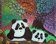 Panda Bear Paintings - Under The Rainbow Tree by Laura Barbosa