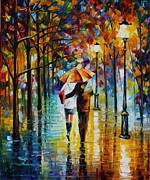 Leonid Posters - Under The Red Umbrella - PALETTE KNIFE Oil Painting On Canvas By Leonid Afremov Poster by Leonid Afremov