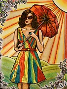 Warm Summer Drawings Prints - Under The Same Sun Print by Bonnie Leeman