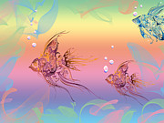 Fish Art Prints Photos - Under The Sea Angel Fish by Cheryl Young