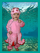 Little Girls Mixed Media Prints - Under the Sea Print by Ellen Henneke