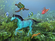 The Horse Digital Art Posters - Under the Sea II Poster by Betsy A Cutler East Coast Barrier Islands