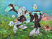 Turtle Mixed Media Metal Prints - Under the Sea III Metal Print by Betsy A Cutler East Coast Barrier Islands