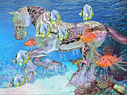 Turtle Mixed Media Metal Prints - Under the Sea IV Metal Print by Betsy A Cutler East Coast Barrier Islands