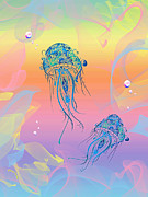 Sea Creatures Posters - Under The Sea Jelly Fish Poster by Cheryl Young