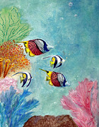 Hawaiian Fish Drawings - Under the Sea by Syl Lobato