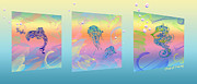 Water Creatures Framed Prints - Under The Sea Triptych Framed Print by Cheryl Young