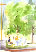 Fresh Vegetables Painting Posters - Under the Shade Trees Farmers Market IV Poster by Kip DeVore