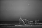 Seaside Heights Originals - Under the stars BW by Michael Ver Sprill