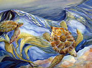 Ocean Turtle Paintings - Under the Surf by Jen Norton