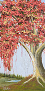 Tree Roots Paintings - Under the Tree with Gold Leaf by Vic Mastis by Vic  Mastis