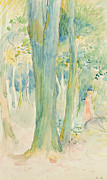 Tree Trunks Metal Prints - Under the trees in the wood Metal Print by Berthe Morisot