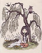 Snezana Kragulj Posters - Under the willow tree Poster by Snezana Kragulj
