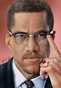 Malcolm X Painting Prints - Under The X Factor 2 Print by Reggie Duffie