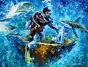 Sharks Painting Posters - Under Water Poster by Leonid Afremov