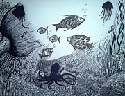 Preetha Jayachandran - Under water- Pen and Ink