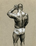 Male Drawings Framed Prints - Under White Framed Print by Chris  Lopez