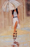 White Dress Painting Originals - Undercover by Laura Lee Zanghetti