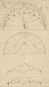 Ink Drawing Drawings - Underdrawing for building temporary arch by Leonardo Da Vinci