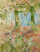 Turning Of The Leaves Framed Prints - Undergrowth in Autumn Framed Print by Berthe Morisot