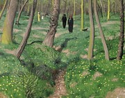 Woods; Shadows; Trees Paintings - Undergrowth in Spring by Felix Edouard Vallotton