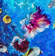 Coral Reef Paintings - Underneath by Mo T