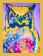 Psychedelic Photo Prints - Understated Owl Print by Carol Leigh