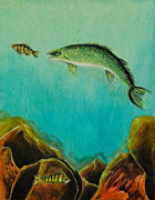 Hunting Pastels Prints - Underwater Predators Panel 1 Print by Jeanne Fischer