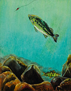 Hunting Pastels Prints - Underwater Predators Panel 3 Print by Jeanne Fischer
