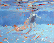 Swimmers Paintings - Underwater  by Sarah Butterfield