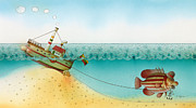 Sea Drawings Prints - Underwater Story 02 Print by Kestutis Kasparavicius