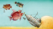 Beach Drawings Prints - Underwater Story 04 Print by Kestutis Kasparavicius