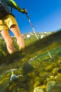 Underwater View Photos - Underwater View Of A Hiker Crossing by Michael DeYoung