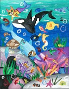 Killer Whale Paintings - Underwater with Kitty and friends by Shelby McSweeney