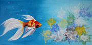 Exotic Fish Prints - Undewater Beauty original acrylic painting Print by Georgeta  Blanaru