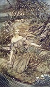Story Drawings Prints - Undine Print by Arthur Rackham