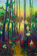 Tall Tree Paintings - Unexpected Path - through the woods by Talya Johnson