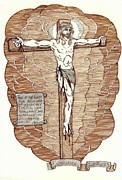 Crucifix Art Drawings Metal Prints - Unforsaken Metal Print by Carl Benson