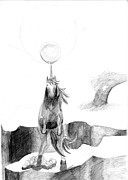 Eclipse Drawings - Unicorn 01 by J M L Patty