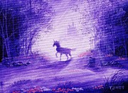 Haze Painting Prints - Unicorn And Castle Fairy Tale Fantasy Print by Tom Hoy