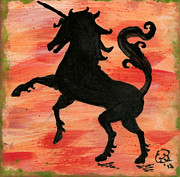 Mystical Ceramics Prints - Unicorn at play Print by Gail Schmiedlin