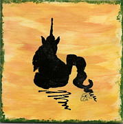 Yellow Ceramics Posters - Unicorn at rest Poster by Gail Schmiedlin