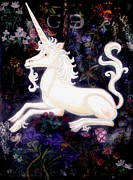 Fine Art Original Mixed Media Prints - Unicorn Floral Print by Genevieve Esson