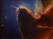 Stellar Stars Nursery Paintings - Unicorn Nebula by Maja  Opacic