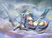 Fantasy Art Mixed Media Posters - Unicorn Of Peace Poster by Carol Cavalaris