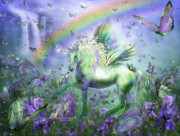 Fantasy Art Mixed Media Posters - Unicorn Of The Butterflies Poster by Carol Cavalaris