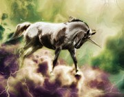 Lightning Bolts Digital Art Posters - Unicorn Power Poster by Nichon Thorstrom
