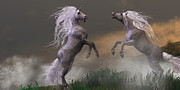 Fight Digital Art - Unicorn Stallions Fighting by Corey Ford