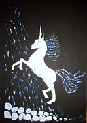 Veronica Rickard Prints - Unicorn Takes a Shower Print by Veronica Rickard